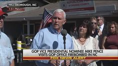 """""""An attack on our political system is an attack on us all.""""  Republican vice presidential nominee Mike Pence visits the site of the GOP office bombing in North Carolina."""