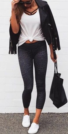 #summer #fblogger #outfits   Black and White Work Out Outfit