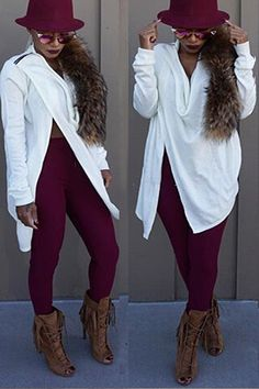 Fashion V Neck Long Sleeves Split Solid White Cotton Blend Shirt