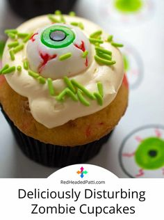Your litle monsters will adore these delishously disturbing Zombie cupcakes this halloween. Make a few batches for home, work & school. Zombie Cupcakes, Candy Bark, Halloween 2, Cupcake Recipes, Redheads, Chocolate, Desserts, Food, Deserts