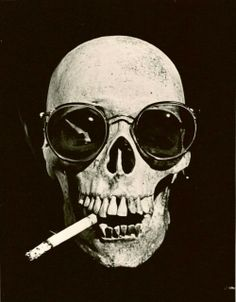 Skull, in the style of 'Fear and Loathing in Las Vegas'. Pop art, illustration.