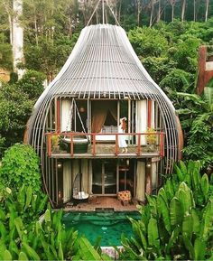 """The balcony overlooks the infinity pool of the Tree Pool House. Tagged: Outdoor and Small Pools, Tubs, Shower. Search """"pool"""" from These Rainforest Pods in Thailand Are Straight Out of a Fantasy. Browse inspirational photos of modern outdoor spaces. Casa Bunker, Architecture Design, Treehouse Hotel, Jungle House, Tree House Designs, Bamboo House, Resort Villa, Cabana, Beautiful Places"""