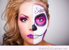 Purple, pink and white face makeup for Halloween