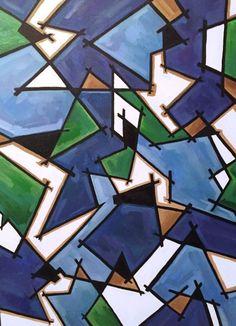 Мозаика 60х80 см, масло, акрил, тушь Картина о раздробленности и желании единства. Детали мозаики пытаются сложиться в рисунок, обрести картину мира и образ жизни. Острые края мешают и создают преломление, а геометричные кусочки отражают некий естественный пейзаж, который вот-вот должен появиться: воду, зелень, землю. Некоторые часть скрыты черным... #абстракция #арт #дихтяр