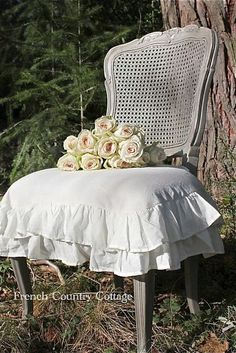 FRENCH COUNTRY COTTAGE: Isn't this cute.   We can buy a garage sale chair, paint it and put it in our neutral bedroom.