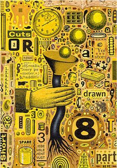 I found these collages as a part of US illustrator Colin Johnson's personal work and I really think they rock. I just love the weight and detail in these, they're just so compact and me… Drawing S, Art Drawings, Communication Art, Arte Popular, Naive Art, Paint Shop, Collage Art, Collage Ideas, Art Journal Pages