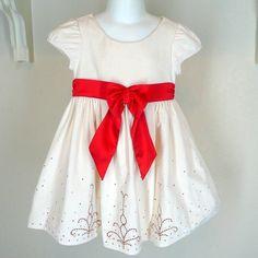 American Girl Bitty Baby Cream & Crimson Dress Sz 4 Child Size Christmas #AmericanGirl #ChristmasHoliday