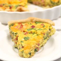 EASY Ham and Cheese Quiche mins prep!) – I Heart Naptime Everyone loves this Ham and Cheese Quiche and it only takes 10 minutes to prep! It's made with a pie crust base, eggs, spinach, ham and cheese in the filling. Breakfast Quiche, Breakfast Dishes, Best Breakfast, Breakfast Recipes, Breakfast Casserole, Breakfast Ideas, Breakfast Burritos, Egg Dishes For Brunch, Italian Breakfast