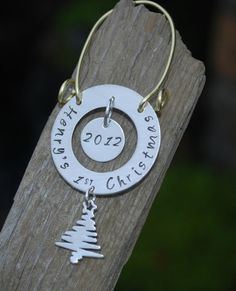 Babys First Christmas Ornament Custom Hand Stamped by Studio463, $54.00