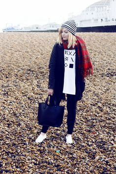 What I wore!  Choies Coat Urban Outfitters Top Topshop Shoes American Apparel Leggings Urban Outfitters Bag River Island Scarf Topshop Hat