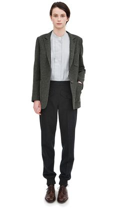 CHARCOAL SOFT LAMBSWOOL TWILL CARDIGAN JACKET BLACK / WHITE TINY GRID TUCK FRONT SHIRT CHARCOAL VINTAGE BARATHEA ALPINE TROUSER DARK BROWN LEATHER BROGUE