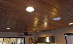 Wood-paneled ceiling — wait for it — OUTDOORS.