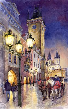 Prague Old Town Square 3 by Yuriy Shevchuk ~ watercolor