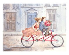 Gather Ye Rosebuds: Fine Art Print - Home Decor - Roses - Bicycle - London by Jane Heinrichs Bicycle Painting, Bicycle Art, Bicycle Illustration, Illustration Art, Bicycle Pictures, Couple Drawings, Rose Buds, Animal Design, Architecture Art