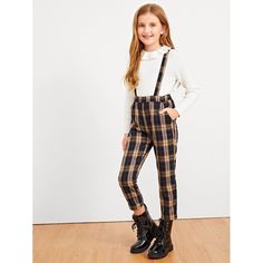 To find out about the Girls Plaid Print Pinafore Pants at SHEIN, part of our latest Girls Pants & Leggings ready to shop online today! Girls Fashion Clothes, Kids Outfits Girls, Cute Girl Outfits, Tween Fashion, Cute Outfits For Kids, Cute Summer Outfits, Casual Outfits, Fashion Outfits, How To Wear Leggings