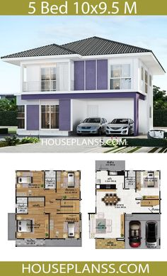 House Design Plans Idea with 5 bedrooms - Home Ideassearch 5 Bedroom House Plans, Porch House Plans, House Layout Plans, Country House Plans, House Layouts, Open Floor House Plans, Home Design Floor Plans, Home Building Design, Dream House Plans
