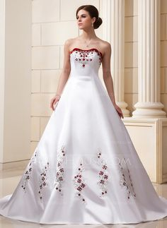 $234.99 - Ball-Gown Sweetheart Cathedral Train Organza Satin Wedding Dress With Embroidered Beading Sequins-I actually really like the pop of color here. Mostly just the edging