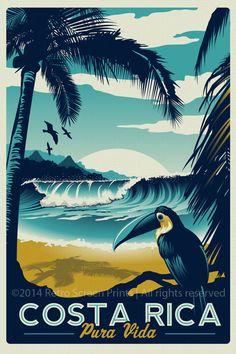 Costa Rica Impression d'écran Rétro Vintage Travel Poster - Costa Rica Retro Vintage voyage affiche Toucan Wave Surf palmiers d'écran impression – Etsy - # Photo Vintage, Retro Vintage, Vintage Surf, Vintage Style, Vintage Paper, Vintage Travel Posters, Palm Trees, Waves, Wave Surf