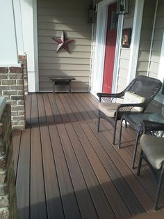 trex wood front Porch Floor Covering Ideas | Like our composite. Chemicals damage veranda td decking.