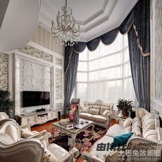 High Ceiling Living Room TV Background Wall Of Marble-effect Diagram