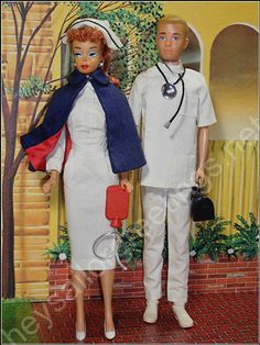 Nurse Barbie and Doctor Ken Outside Barbie's 1963 Dream House by Hey Sailor Greetings
