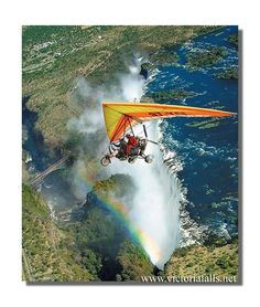 Microlight over Victoria Falls Victoria Falls, Gliders, Natural Wonders, Waterfalls, Niagara Falls, Decoupage, Aviation, Aircraft, Bucket