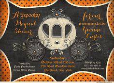 Spooky Spider Orange Baby Shower Invitation - Fall Halloween Style