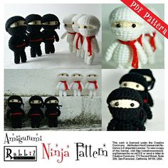 PDF Pattern  Amigurumi Ninja Black and White by rabbizdesign, $3.50