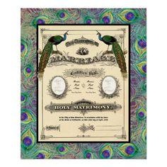 Vintage Wedding Marriage Certificate Poster to add to your #peacock #wedding #memorabilia from http://www.zazzle.com/vintage_wedding_marriage_certificate_modern_design_poster-228590611525344201?rf=238505586582342524