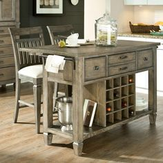 Kitchen Island, Black Portable Kitchen Island With Drawers And ...
