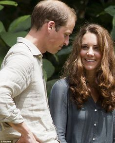 Having fun: Kate jokes with William on the second stop of their nine-day tour
