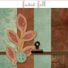 Faded Fall -- Free Mini Digi Scrap Kit by Pumpkins & Posies