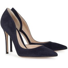 Womens Pointed-Toe Pumps Gianvito Rossi Biba Navy Suede Pumps ($705) ❤ liked on Polyvore featuring shoes, pumps, heels, high heel pumps, suede pumps, pointed-toe pumps, heels & pumps and suede pointy toe pumps