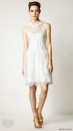 rembo styling 2017 bridal sleeveless lace illusion round neck scoop neck above the knee short wedding dress (plume) mv