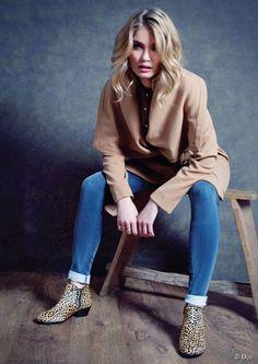 Camel coat + denim + leopard chelsea boots = perfectiion