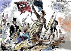 Mike Luckovich - political cartoon - Free Speech - Charlie Hebdo - Jan. 8, 2015