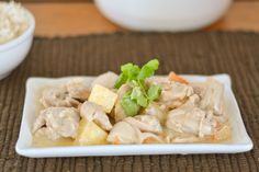 Coconut Chicken with Pineapple or Pininyahang Manok is a Filipino dish.The main ingredients are chicken, coconut milk and pineapple chunks.