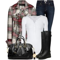 A fashion look from January 2013 featuring American Vintage t-shirts, BKE coats and Paige Denim jeans. Browse and shop related looks.