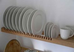A modern, minimal plate rack. This would work great for an efficiency apartment with a small kitchen