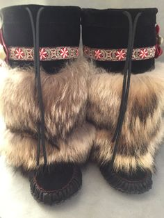 SOFT FLORAL TRIMMED Mukluks by CustomMyMuks on Etsy Moccasin Boots, Shoe Boots, Ulzzang, Beading Patterns Free, Bead Patterns, Winter Outfits, Beaded Moccasins, Over Boots, Fur Clothing