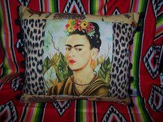 Frida Kahlo Mexican Pillow Self Portrait Leopard Animal Print ...