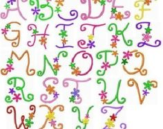 Whimsical fun flower machine embroidery design font alphabet  Quality digitized designs