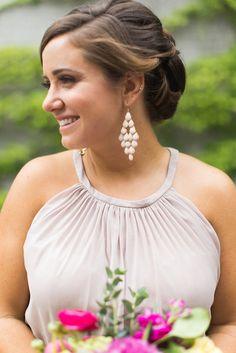 A chic chiffon dress with a high, illusion neckline    Floral Graffiti Inspiration at The Big Fake Wedding
