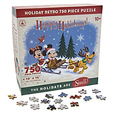 Disney Store Retro Christmas Mickey & Minnie Mouse 750pc holiday  puzzle