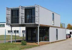 The containers for the TRIER BUILDING TRIER expanded JACK IN THE BOX e. 2011 on behalf of the Ökobit GmbH. The building consists of four high-cube containers arranged in pairs, two-storeys, to form a reversible building for an office. Container Office, Cargo Container Homes, Building A Container Home, Container Cabin, Storage Container Homes, Container Architecture, Container Buildings, Architecture Design, Container Conversions