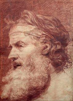 Jean-Baptiste GREUZE (Tournus 1725 - Paris 1805). Figure d'homme barbu ou le philosophe grec Sanguine 44 x 32 cm.