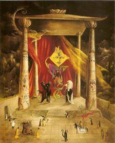 Leonora Carrington,  El templo de la palabra, 1954.  Óleo y pan de oro sobre lienzo,  98,4×78,7 cm.  Colección particular, Estados Unidos