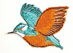 kingfisher by sarah chatterton (lotus blossom) : textile art