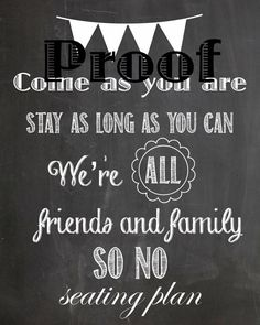 Chalkboard NO SEATING PLAN Sign Download by SheilaBeelaDesigns, $5.00