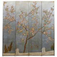 Silver leaf chinoiserie four fold screen